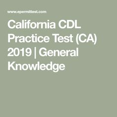 california commercial drivers license practice test