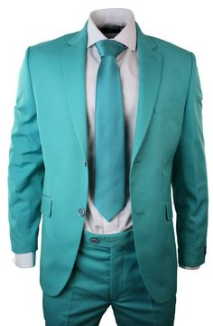 Mens Turquoise Green Suit Blazer Trouser Tie Party Wedding Prom Tailored Fit. #clothing #fashion #shopping #style #menswear #suits