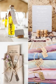 Menu and place cards by Seven Swans Wedding Stationery