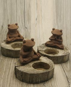 Set of Three Meditative Frog Candle Holders
