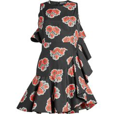 Alexander McQueen Printed Cotton Ruffle Dress (€2.233) ❤ liked on Polyvore featuring dresses, black, flutter-sleeve dress, flounce dress, alexander mcqueen dresses, poppy dress and cotton dresses