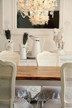 Love the look of white cane-back chairs at the dining table. (photo: shabbyfufu.blogspot.com)