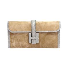HERMES Jigé 'Marron glacé' suede and lizard | See more vintage Clutches at https://www.1stdibs.com/fashion/handbags-purses-bags/clutches in 1stdibs