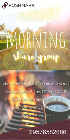 """Sunday Morning Early Girly Share Group Sign Up .Grab some coffee and Let's get this started!   NEW MEMBERS sign in with """"new"""" beside your name, share first & THEN others will share you. This is only to cut down on the amount of moochers who sign up & do not share. Feel free to come back for new members AFTER they have shared you  Sign in by tagging your name  Share 8 listings from each closet  Like this listing so you can find it!  No comments until after sign up closes  PLEASE don't sign up…"""