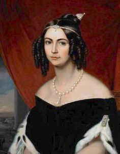 Amelia of Leuchtenberg, second wife and Empress consort of Pedro I of Brazil by ? (probably Joseph Karl Stieler) (location unknown to gogm) from internetstones.com lightened