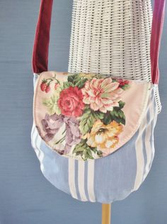 Rare Mario Buatta Roses Floral Chintz Fabric Gypsy french shabby chic shoulder bag