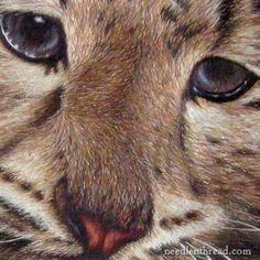 Silk Needlepainting - Hand Embroidery in Silk  The eyes are so amazing!