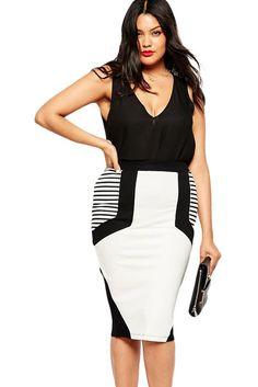 Plus Size Stripe Jersey Pencil Skirt