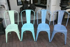 Classic Marais Chairs Repainted in Seafoam, Aqua, Sky and Periwinkle Blues