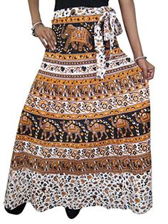 Summer Skirts, Maxi Skirts, Wrap Around Skirt, Elephant Print, Gifts For Girls, Indian Outfits, Printed Cotton, Amazon, Camel