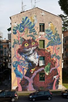 6 fantastic animal-based murals by Italian muralist Hitnes in the district of San Basilio of Rome, Italy - for the Sanba Street Art Project - March 2015