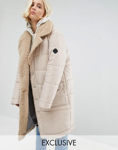 33dafc9a89e Puffa Oversized Padded Coat With Faux Shearling Shawl Collar Best Winter  Coats