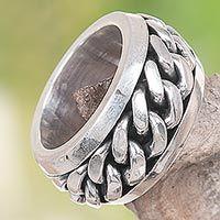 Men's sterling silver meditation ring, 'Supreme' - Artisan Crafted Sterling Silver Men's Meditation RIng