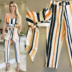 Image may contain: 1 person, standing and stripes Classy Outfits, Chic Outfits, Trendy Outfits, Summer Outfits, Jumpsuit Outfit, Floral Jumpsuit, Pants Outfit, Girl Fashion, Fashion Dresses