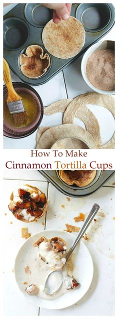 So easy and so quick, fill these Cinnamon Tortilla Cups with your favorite pie filling or even ice cream! They are always a huge hit for my guests!