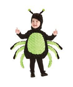 The itsy-bitsy spider climbed up the water spout. Down came the rain and washed the spider out. Spider Kid Costume - Kids Halloween Costume includes a black plush bodysuit with light...