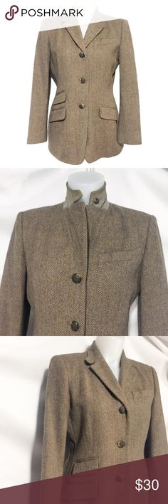 Vintage Ralph Lauren Wool Blazer unique Neckline Gorgeous and distinct wool blazer with beautiful classic vintage appeal. Classy side pockets and edgy suede under collar flare. Classic Ralph Lauren horse buttons. Fully lined quality piece. In EUC. Enjoy! Vintage Jackets & Coats Blazers
