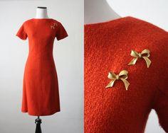 1960's cinnamon boucle dress. via Etsy.