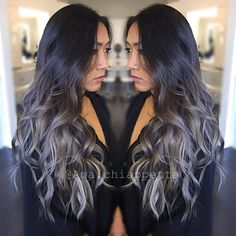 @colorbyana silver hair, grey hair, slate hair, ombre, sombre, balayage, pastel hair, hair, hair color, creative color, curls, style, hairstyle, fashion