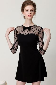 Dotted Little Black Dress