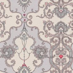 Charm Damask (7308-10) - Albany Wallpapers - A stunning damask design in beige and soft pink shades with chain and charm details which co-ordinate with other designs. Please request sample for true colour match.