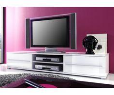 Meuble de télé blanc laqué #meubletele Buy Tv Stand, Units Online, Folding Doors, Open Shelving, Tvs, Elegant, Home And Living, Living Room, Storage Spaces