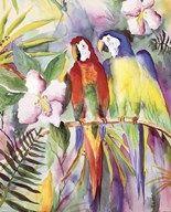 Parrots On A Branch Fine Art Print
