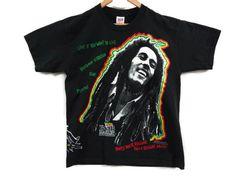 Bob Marley Reggae Tee - Large - Rasta - Rastafari - Marijuana - Weed - Pot - Stoner - Burnout - Reggae Music - One Love - Vintage Tees - by BLACKMAGIKA on Etsy