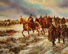ПРЕСЕЛЕНИЕТО НА АСПАРУХОВИТЕ БЪЛГАРИ маслени бои, платно Васил Горанов THE MIGRATION OF KHAN ASPARUH'S BULGARIANS oil on canvas Vasil Goranov