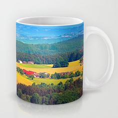 Summer scenery with lots of green and blue Coffee Mug by patrickjobst Blue Coffee Mugs, Ceramic Mugs, Custom Design, Scenery, Green, Summer, Pottery Mugs, Summer Time, Blue Coffee Cups