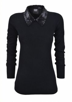 London Boutiques | Sequin Collar Wool Jumper- Markus Lupfer