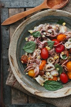Squid with Burst Cherry Tomatoes - sub thai basil and rice noodles for squid | A Thought For Food