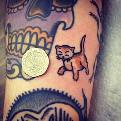 tattoo old school / traditional ink - small cat (by Jemma Jones)