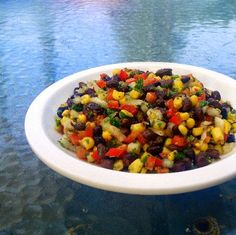 One Perfect Bite: Simple Bean and Corn Salsa ~T~ Love this. In the summer I make it with fresh corn and with frozen in the winter. A wonderful mixture of cumin, black beans, corn, red bell pepper, sweet onion, cilantro, parsley, lime juice and zest, olive oil, garlic, salt, crushed red pepper flakes and fresh cracked pepper.