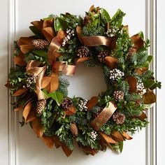 ribbon garland, decor, holiday, copper ribbon, ribbons, williamssonoma, winter wreath, ribbon wreaths, christma