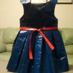 My daughters Shirley Temple costume made from Duct Tape Duct Tape Dress, Daughters, To My Daughter, Temple, Costumes, Facebook, Creative, Fun, How To Wear
