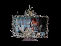 Mermaid Altered Art Shadow Box Tin Vintage Ice Princess