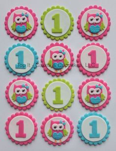 Fondant Cupcake Toppers - Look Whoo's Turning - Owl
