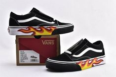 Sorry, completed: New Custom Vans Old Skool Flame low top skateboard shoes Custom Slip On Vans, Custom Shoes, Baby Girl Shoes, Vans Old Skool, Fashion Stylist, Event Design, Skateboard, Girl Fashion, Footwear