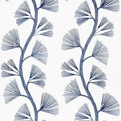 GINKGO EMBROIDERY | 73081 in MARINE | Schumacher Fabric | This styllized, over-scaled ginkgo design is a modern take on a traditional motif. Embroidered on a crisp linen-cotton ground, it layers beautifully with other patterns.