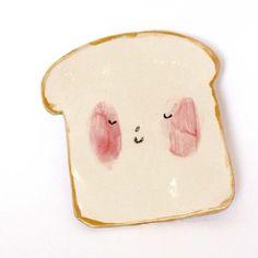 Ceramic toast plate? Amazing. From Charlotte Mei on Etsy... #littlegatherer #ceramic #toastplate #toast #ceramicfood #cuteness