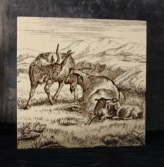 Goats from the Farm Life Series by William Wise for Minton Tile Works. Aesthetic Movement by ThTalbot on Etsy