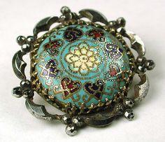 Antique French Enamel Bezel Set Floral Button w/Fancy Cut Steel Border