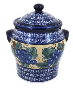 Polish Pottery Grapes Large Canister ^^ Additional details at the pin image, click it : bakeware