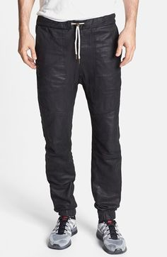 $599, Black Leather Sweatpants: Zanerobe Sureshot Slim Tapered Leather Jogger Pants. Sold by Nordstrom.