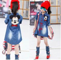 Ucuz  Doğrudan Çin Kaynaklarında Satın Alın: Retail+new 2014 sonbahar çocuk kız elbise, karikatür mickey kot elbise, gömlek yaka giyim, çocuk giysileri, 9-12 yıl Boyutu: 13-15-17-19Bebek yaş: 9-12 yılBu stoğa, ödeme yapabilirsiniz.Kontrol