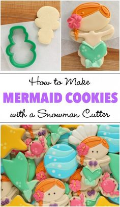 Learn how to make adorable mermaid cookies with a snowman cutter via Sweetsugarb. Cookies Cupcake, Fancy Cookies, Iced Cookies, Cute Cookies, Cookies Et Biscuits, Cookies With Royal Icing, Snowman Cookies, Halloween Cookies, Birthday Cookies