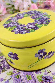 Vintage Home - Gorgeous Violets Tin: www.vintage-home.co.uk
