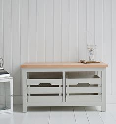 Dove Grey Oak Storage Bench With Wooden Crates Perfect For The Hall Kitchen