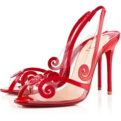 Christian Louboutin Au Hameau featuring polyvore fashion shoes sandals heels christian louboutin sapatos rouge lipstick view all christian louboutin slingback slingback shoes evening sandals slip on shoes